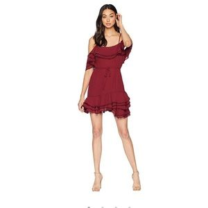 BB Dakota Ruffle Maroon layered dress